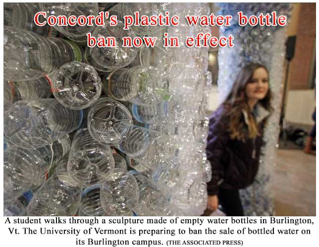 CONCORD -- A new ban on the sales of single-serving plastic water bottles has taken effect in Concord.