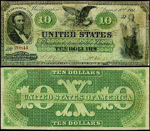 1862 U.S. treasury department print green back notes at no interest to the federal government