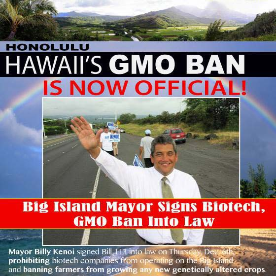 Mayor Billy Kenoi signed Bill 113 on December 5, 2013. Below is the message he sent to the Hawai'i County Council