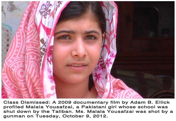 On Tuesday, cowered, masked Taliban gunmen answered Ms. Yousafzai's courage with bullets, singling out the 14-year-old on a bus filled with terrified schoolchildren, then shooting her in the head and neck. Two other girls were also wounded in the attack. All three survived, but late on Tuesday doctors said that Ms. Yousafzai was in critical condition at a hospital in Peshawar, with a bullet possibly lodged close to her brain.