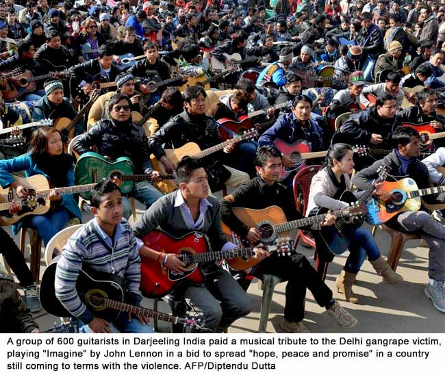 Imagine an India for women: 600 guitarists pay tribute to New Delhi December 16, 2012 gang rape victim
